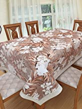 Clasiko 6 Seater PVC Table Cover; Brown Flowers & Grey Leaves on Brown Base; Anti Slip; 60x90 inches; 6 Seater