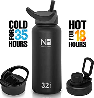 NATURE FLASK - Water Bottles Stainless Steel, Vacuum Insulated Water Bottle, Insulated Water Bottle, 3 Lids, Hot & Cold, Simple Thermo Modern Travel Sport Mug, Hydro Coldest (Midnight, 32oz)