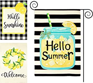 3 Pieces Welcome Lemon Wreath Garden Flags Hello Summer Yard Flags Lemon Mason Jar Double Sided Vertical Seasonal House Flags Polyester Holiday Decor for Outdoor Summer Decoration, 12.6 x 18.5 Inch