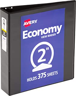 Avery 05730 منظم للرؤية الاقتصادية مع حلقات دائرية، 11 × 21 سم، كاب 5 سم، أسود