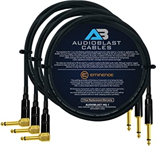Audioblast - 3 Units - 5 Foot - HQ-1 - Ultra Flexible - Dual Shielded (100%) - Guitar Instrument Effects Pedal Patch Cable...