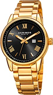 Akribos XXIV Stainless Steel Bracelet Watch - Classy Easy to Read with Date Window - Radiant Sunray Dial, Roman Numeral Hour Markers - AK976