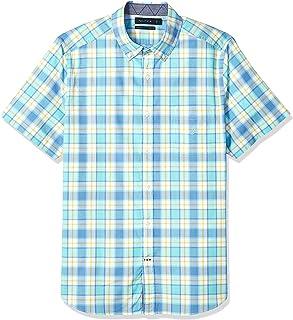 8885f96e38ae31 Nautica Men's Classic Fit Short Sleeve Stretch Plaid Button Down Shirt