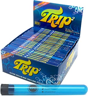 Trip 2 Cellulose Clear Rolling Papers King Size (24 Packs/Full Box) with Rolling Paper Depot XL Doob Tube