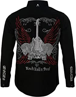 Men's 'Love Hate' Embroidered Long Sleeve Button Down Black Shirt 707B