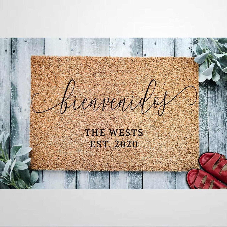 Inexpensive Family Name Bienvenidos Coir Doormat Welcome Rustic Door Mats Charlotte Mall fo