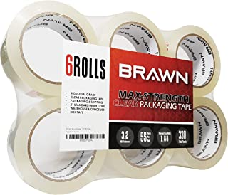 Brawn 3.2 mil Max-Strength Clear Packing Tape, 6 Rolls x 55 Yards, 2 inch Wide fit for Packaging, Carton Sealing, and Shipping