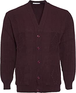 Mens Knitted Cardigan Classic Style Cardigans V Neck Button Jumper Plain Coloured