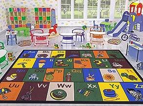 Ottomanson Jenny Collection Children's Multi Color Educational Alphabet (Non-Slip) Kids Classroom Area Rugs, 3'3