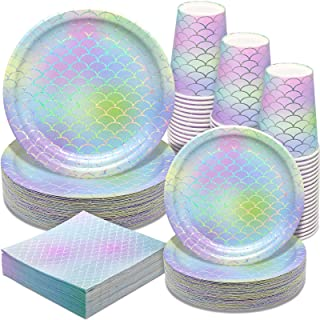 Mermaid Party Supplies - 200PCS Party Paper Plates Disposable Paper Dinnerware Set,50 Dinner Plates Dessert Plates Cups Na...