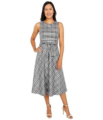 Calvin Klein Belted Plaid Dress with Lurex (Black/Cream/Silver) Women