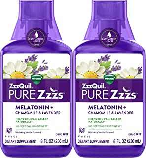 ZzzQuil Vicks Pure Zzzs Melatonin Liquid Sleep-Aid Twin Pack with Chamomile, Lavender, Valerian Root and Lemon Balm, 1mg p...