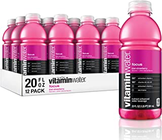 vitaminwater focus, kiwi-strawberry flavored, electrolyte enhanced bottled water with vitamin b5, b6, b12, 20 fl oz, 12 pack