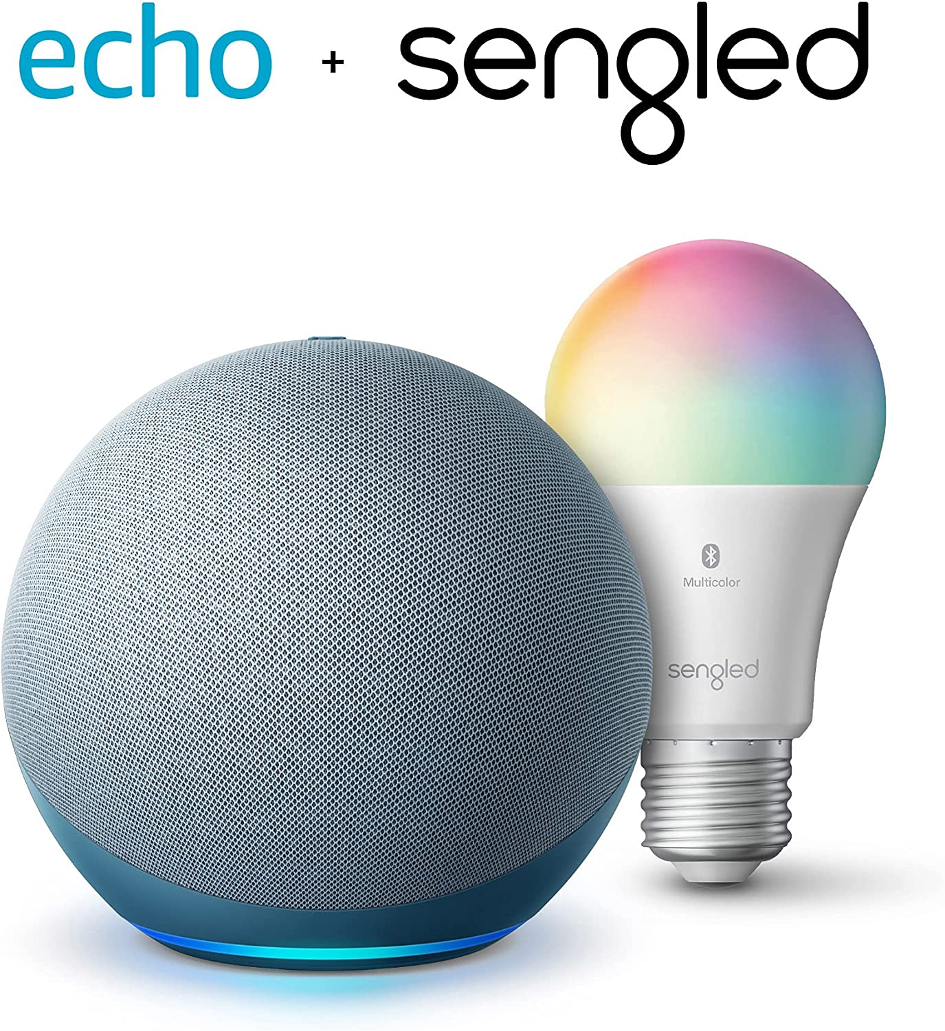 Echo (4th Gen) | With premium sound, smart home hub, and Alexa | Twilight Blue with Sengled Bluetooth Color bulb
