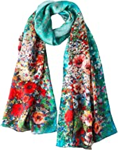 Long Silk Scarf Digitally Printed With Floral Print