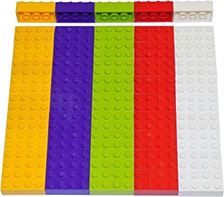 LEGO Parts and Pieces: Assorted 2x4 Bricks (Light Orange, Lime, Purple, Red, White) - 50 Pieces