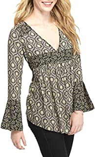 Free People Women's Rolling Hills Print Bell Sleeve Tunic For Women In Black Print (Medium)