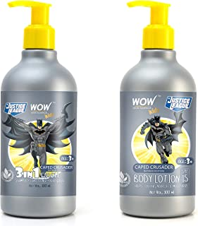 WOW Skin Science Kids 3 in 1 Wash + Kids Body Lotion - SPF 15 - Caped Crusader Batman Edition - 600mL combo