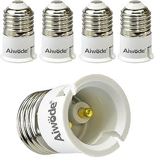 Aiwode E27 a B22 Socket Adapter Socket Convertidor, E27 Adaptador conversor para bombillas LED y bombillas Halógenas,Potencia Máxima 200W,Paquete de 5.