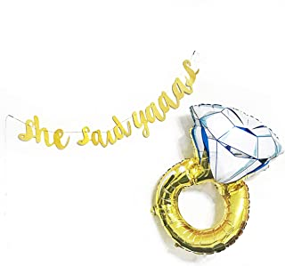 Dadam She Said Yes Banner Diamond Ring Balloon Engagement Party Decorations Bachelorette Party Balloons Engagement Banner ...