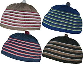 مجموعة من 4 قبعات جمجمة للأطفال المسلمين AMN061 قبعة صغيرة من الكروشيه بتصميم إسلامي