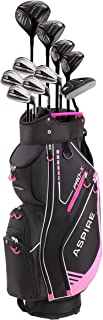 PRO-X Ladies Womens Complete Right Handed Golf Clubs Set Includes Titanium F Driver, 3 Fairway Wood, 4-5 Hybrids, 7-SW Irons, Putter, Cart Bag, 4 H/C's