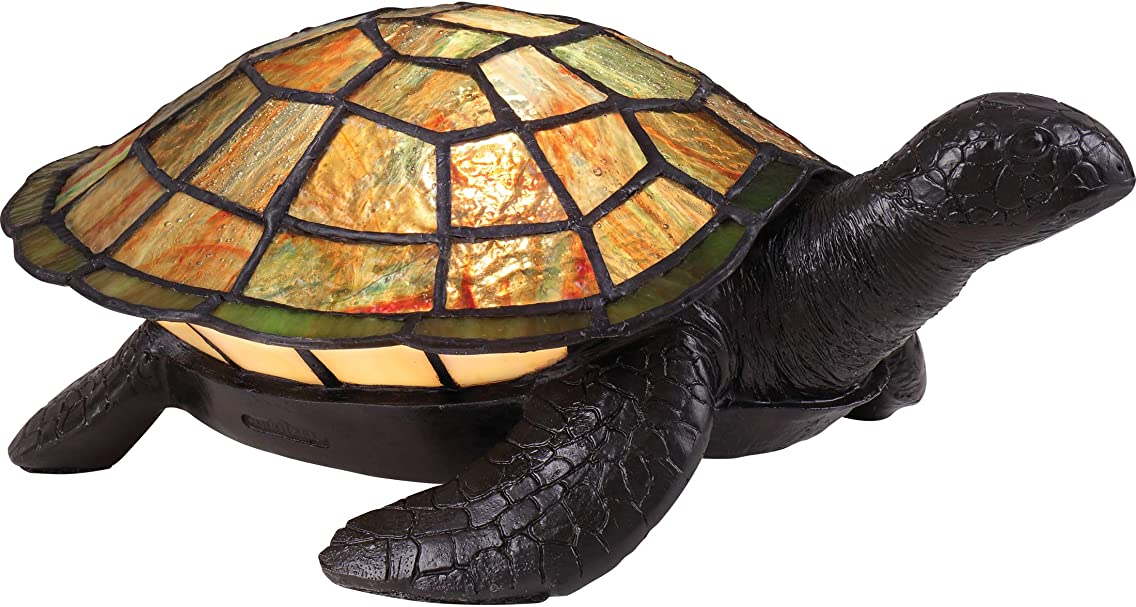 Quoizel TF3694VB Sawback Tiffany Turtle Table Lamp Lighting, 1-Light, 15 Watt, Vintage Bronze (4