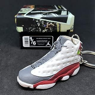 Air Jordan XIII 13 Retro Grey Toe White Red Flint OG Sneakers Shoes 3D Keychain 1:6 Figure + Shoe Box