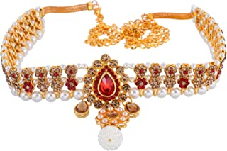 Sanjog Embellished Multi-Color Stone Gold Plated Kamarband Belly Chains for Women/Girls (Red)