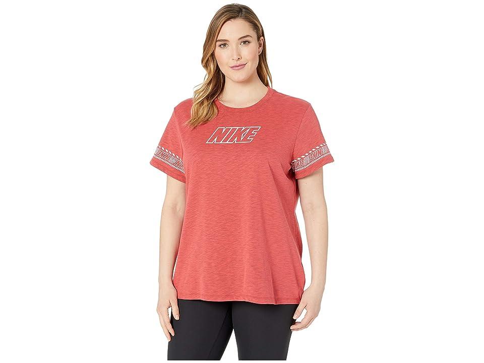 Nike Dry Dri-FIT Cotton Brand Slub Tee (Ember Glow/Heather) Women