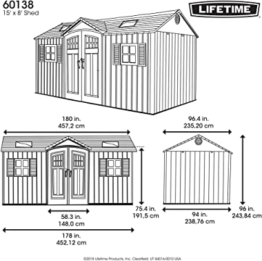 Lifetime 60138 Outdoor Storage Shed, Desert Sand, 15 x 8 Feet