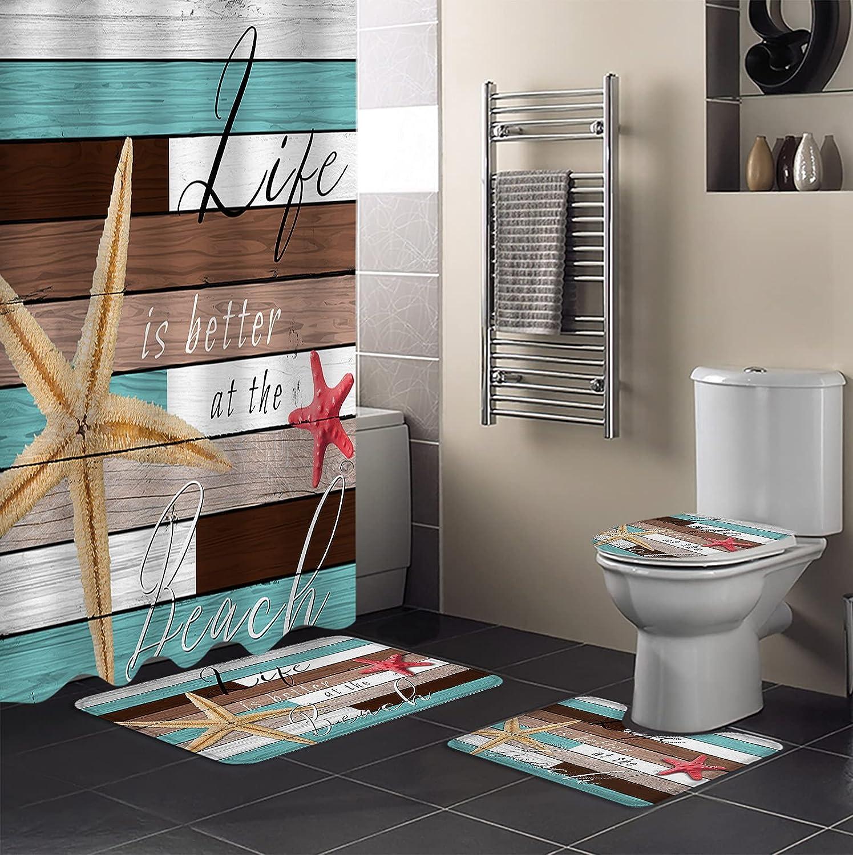 4 Pcs Sale item Bathroom Set with Non-Slip Popular products Shower I 66x72 Curtain Mat Bath