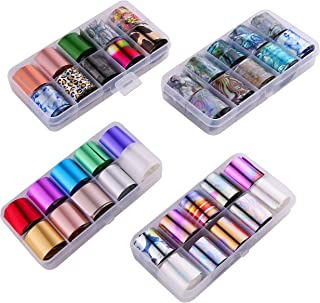 Teemico 4 Box of 40 Rolls Glitter Nail Art Stickers Nail Transfer Foil Wraps-Shell Pattern Starry Sky/Butterfly/Heart/Flower Lace Pattern Decals For Nails Art (Pattern B)