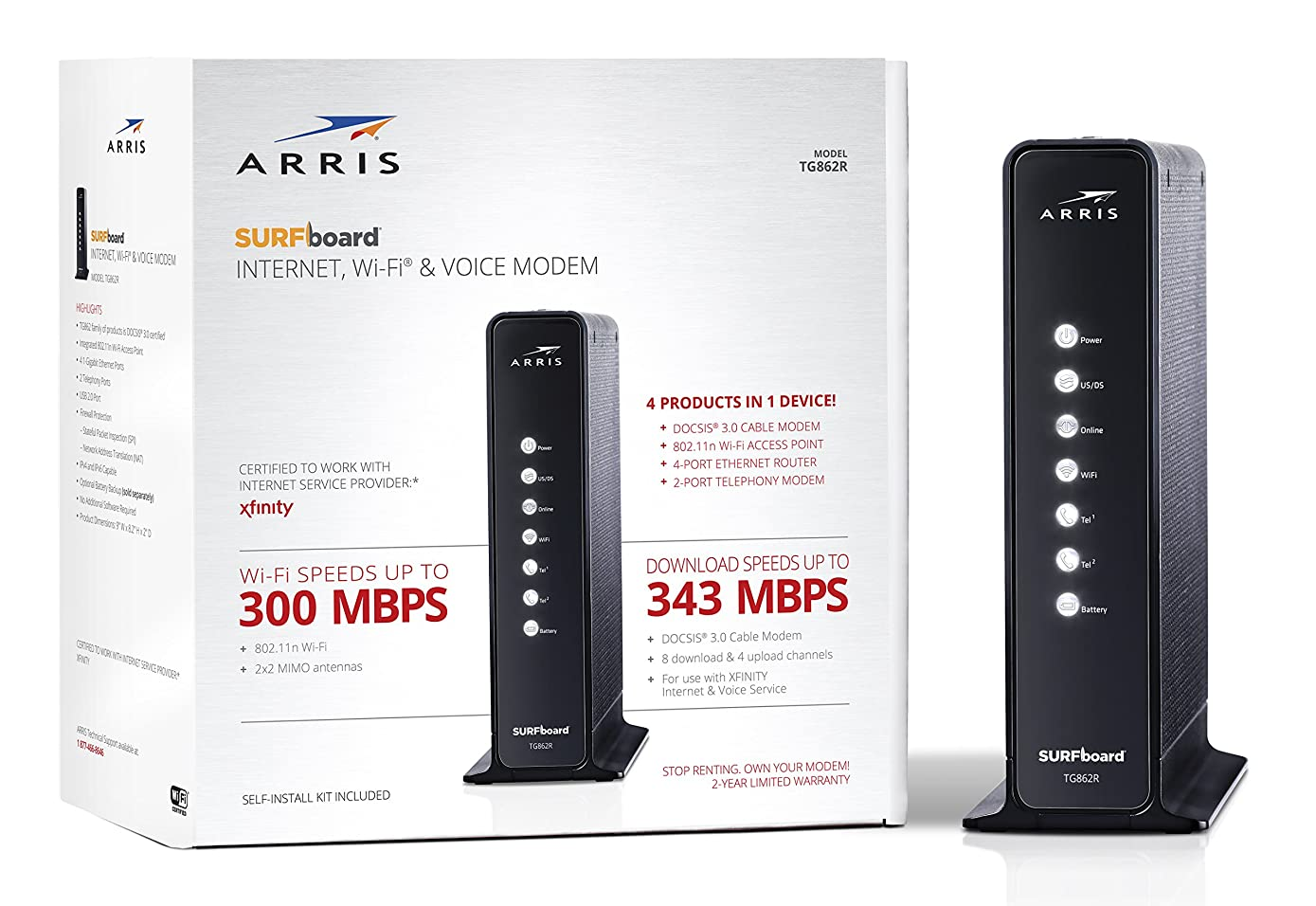 ARRIS Surfboard Docsis 8X4 Cable Modem / Telephone  / N300 Router Certified for XFINITY - Download Speed:  343 Mbps (TG862R)