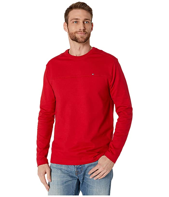 Tommy Hilfiger Adaptive  Solid Long Sleeve T Shirt with Magnetic Buttons at Shoulders (Apple Red) Mens Clothing