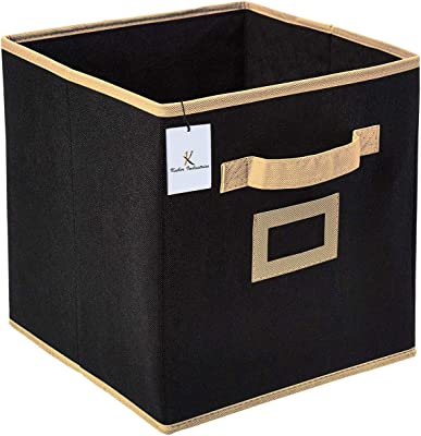 Kuber Industries Non Woven 2 Pieces Small & Large Foldable Storage Organiser Cubes/Boxes (Black) - CTKTC035305