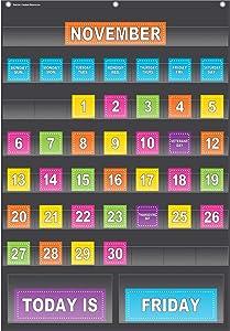 Teacher Created Resources Black Calendar Pocket Chart (20748)