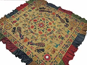 NovaHaat Khaki Kutch Embroidery Wall Hanging - Vintage Huge Ethnic Indian Tapestry with Ganesha, Lakshmi and Peacock Motifs and Mirror Work ~ 83