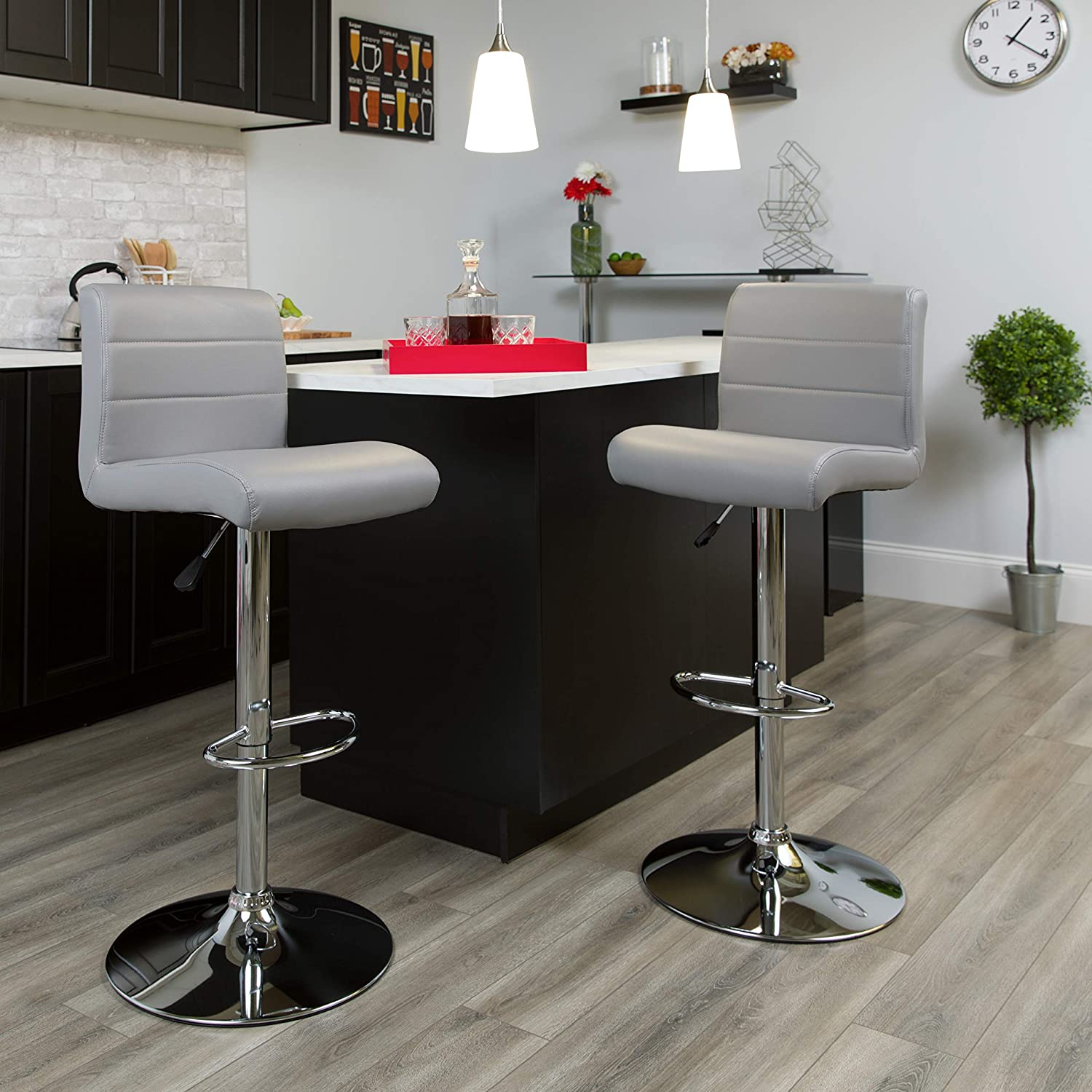 Flash Furniture 2 Pack Contemporary Height Gray Adjustable Vinyl Very popular Limited Special Price