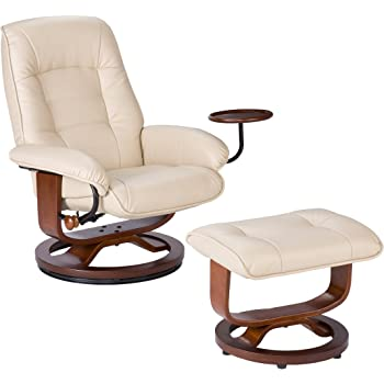 Southern Enterprises Bonded Leather Recliner with Ottoman , Taupe