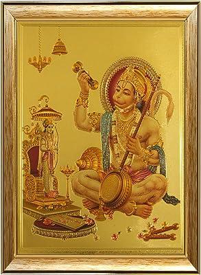 SAF Hanuman JI in Golden Foil Framed Reprint Painting (SANFO400, 20 cm x 3 cm x 30 cm) SANFO400