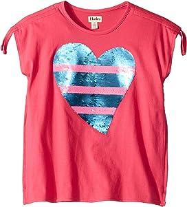 7f8936a6937947 Flip Sequin Heart Cinched Shoulder Tee (Toddler/Little Kids/Big Kids)