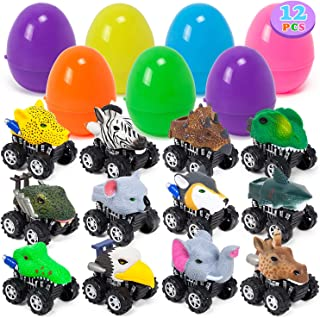 YIHONG 12 Pack Large Easter Eggs Prefilled with Animal Pull Back Cars, 3.8Inch Plastic Easter Eggs for Kids Easter Hunt, Basket Stuffers,Easter Party Favor