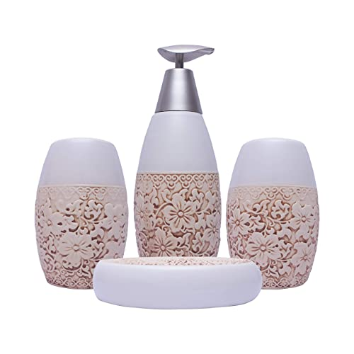 Era Of Décor Ceramic Floral Bathroom Accessories Soap Dispenser, Toothbrush Holder, Soap Dish and Tumbler Set