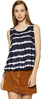 Flying Machine Women's Floral Regular Fit Vest Top (FWTO1053_Navy_L SL)