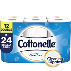 Cottonelle Ultra CleanCare Toilet Paper, Strong Bath Tissue, Septic-Safe, 12 Double Rolls