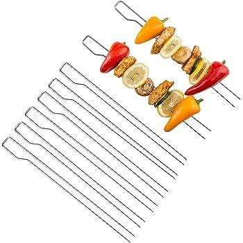 Bruzzzler Doppelspieße, verwendbar als Schaschlikspieße, Grillspieße, für einfaches Wenden, Spülmaschinengeeignet, Barbecue Doppelspieße, 8er Set Spieße, 39,5 x 9,5 x 4,5 cm