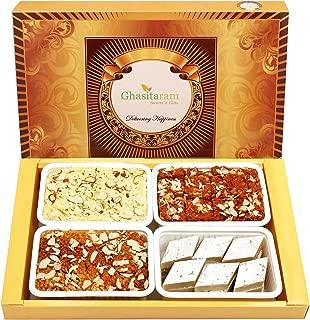 Ghasitaram Gifts Indian Sweets - Diwali Gifts Diwali Sweet - Big Box of Kaju Katli, Soan Papdi, Dodha Barfi and Milk Cake