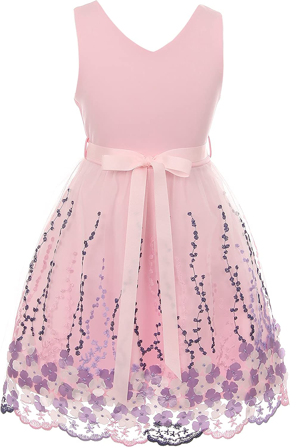 Solid Top Beautiful Flower Embroidery Flower Girl Dress for Girls