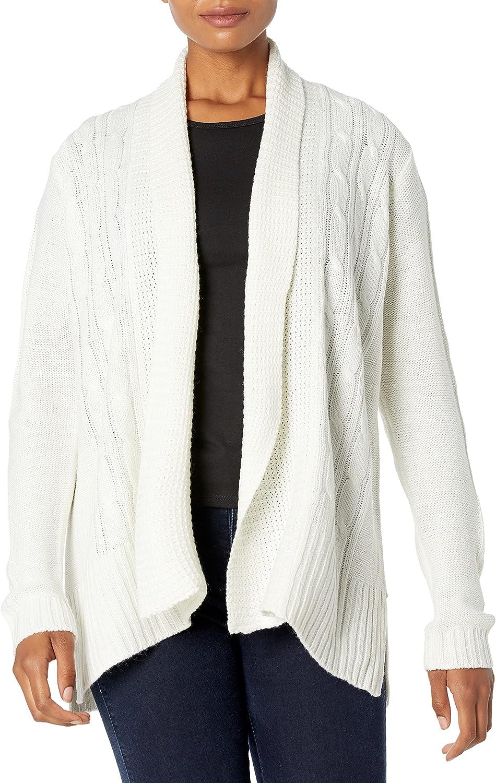 Jason Maxwell Women's Long Sleeve Solid Turnback Collar Cardigan
